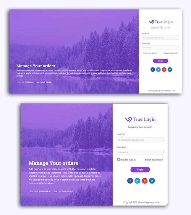 Bootstrap 4 Login Form | HTML Template | Smarteyeapps com