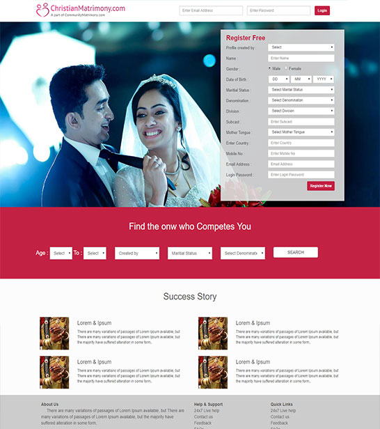 matrimonial registration page free html website template