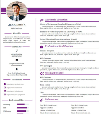Free Personal, Profile, Resume HTML Website Template