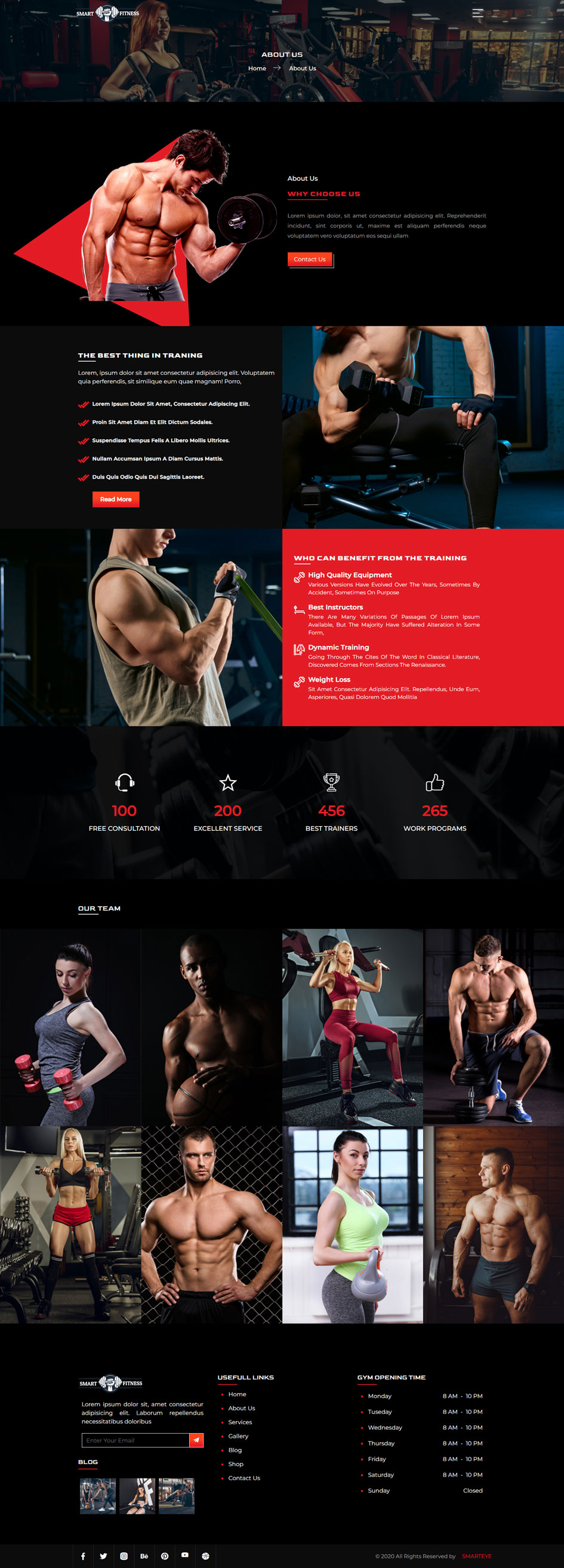 Gym Website Template About Us