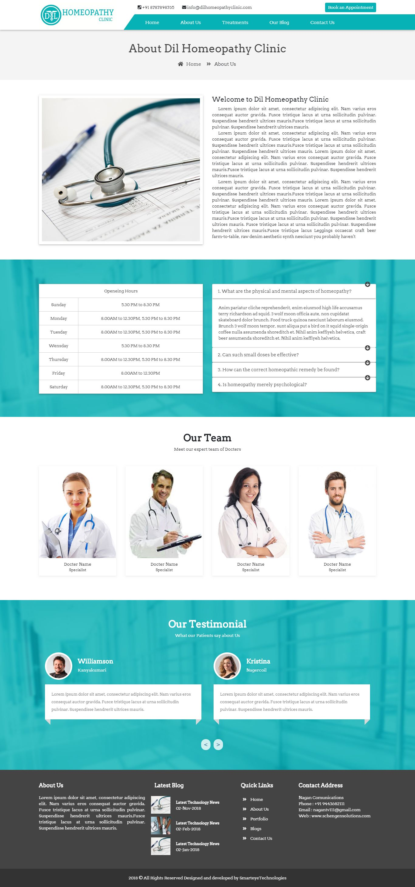 Clinic website template home page