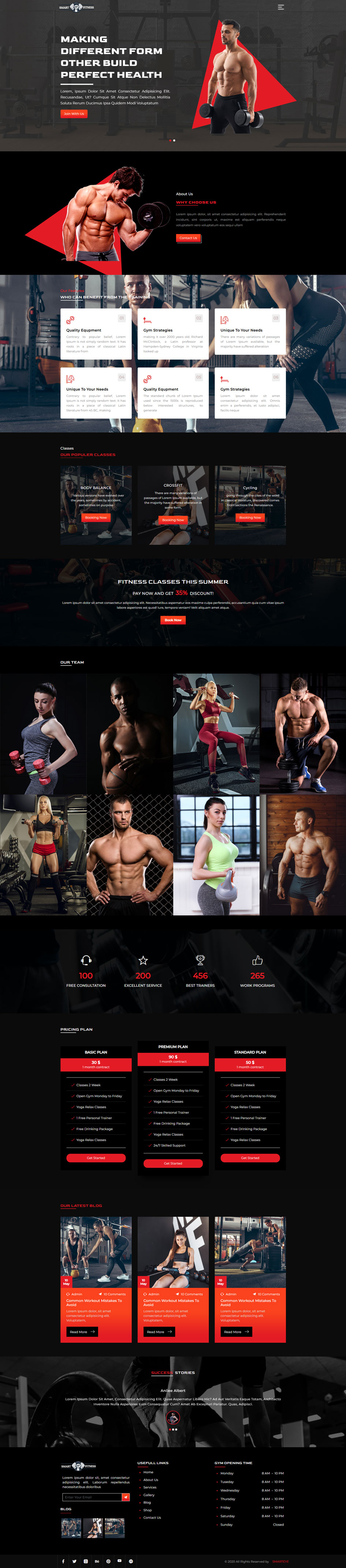 Gym Website Template Home Page