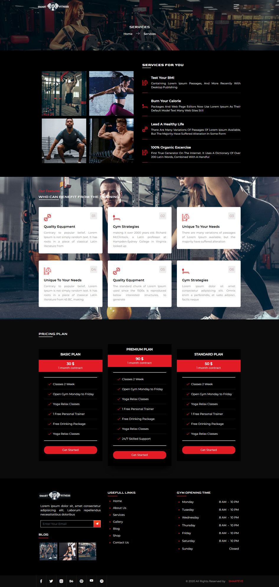 Gym Website Template Services